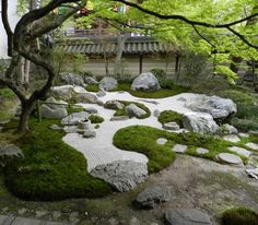 "Breathtaking 5 Best Zen Garden Design Ideas To Make You More Relaxed Japanese stone garden or ""dry landscape"" garden, often called a zen garden, creates a miniature style garden through carefully arranged stone arrangem. Mini Zen Garden, Moss Garden, Garden Stones, Garden Pests, Zen Garden Design, Japanese Garden Design, Japanese Style, Landscape Design, Landscaping With Rocks"
