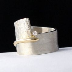 Bridging the Gap by Dagmara Costello: Gold, Silver & Stone Wedding Band available at www.artfulhome.com