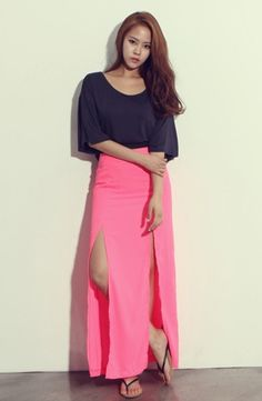 Maxi skirt with 2 high slit at front , total 4 colors