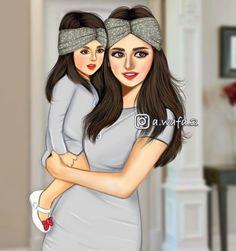 Cartoon Girl Images, Cute Cartoon Drawings, Girly Drawings, Girl Cartoon, Beautiful Girl Drawing, Cute Girl Drawing, Mother And Daughter Drawing, Girly M, Cute Couple Art