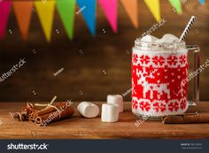 Christmas Eggnog with a gentle Zephyr. A cozy evening. The New year holiday. Ready-made greeting card, place for text.