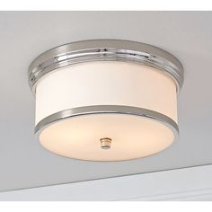 Pottery Barn Hayden Flushmount found on Polyvore featuring polyvore, home, lighting, ceiling lights, pottery barn ceiling lights, pottery barn hanging lights, round lights, pottery barn lamps and flush mount lighting