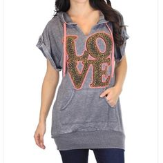 Grey washed LOVE studded hoodie @hartman_ash1210 Tops Sweatshirts & Hoodies