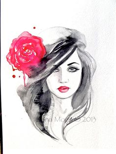 Original Fashion Watercolor Painting, Contemporary Modern Wall Art,  illustration abstract home wall decor by Lana. $45.00, via Etsy.
