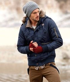Shop this look on Lookastic:  http://lookastic.com/men/looks/beanie-longsleeve-shirt-crew-neck-t-shirt-parka-gloves-suspenders-chinos/6054  — Grey Beanie  — Brown Gingham Long Sleeve Shirt  — White Crew-neck T-shirt  — Navy Parka  — Burgundy Wool Gloves  — Black Suspenders  — Brown Chinos