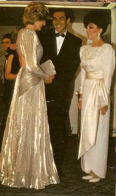 26 MARCH 1985 PRINCESS DIANA SHIMMERS IN BRUCE OLDFIELD AT HIS LONDON FASHION SOIREE IN AID OF BARNARDO'S