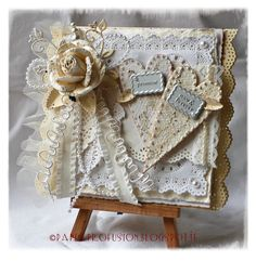 Delicate Wedding Card With Hearts, Doilies, Lace, & Flowers