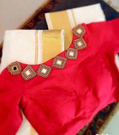 diamond shape mirror work blouse design