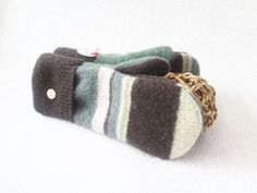 Recycled Sweater Mittens GREEN & BROWN Striped Wool Mittens by WormeWoole