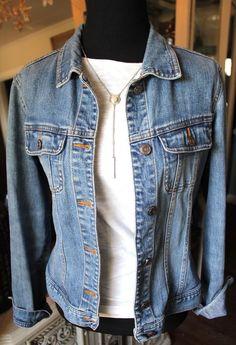 Old Navy Blue Faded Denim Jean Jacket Women Small  #OldNavy #JeanJacket