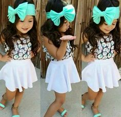 skirt, shirt, and bow is just a perf combo.