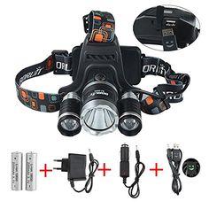 GRDE Lampe Frontale Inclinable 3 Torche LED Puissante Headlight Rechargeable Headlamp pour vtt Cycliste, Randonne,Caverne,Chasse de…