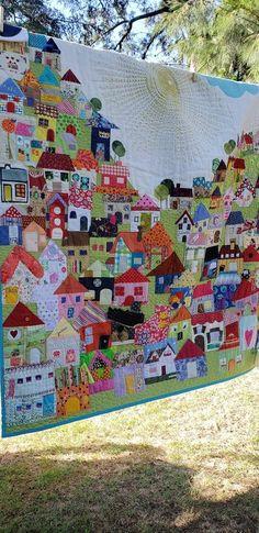 Colchas Quilt, Scrappy Quilts, Applique Quilts, Quilt Blocks, House Quilt Patterns, House Quilt Block, Quilting Projects, Quilting Designs, Landscape Art Quilts