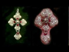 Beading for perfectionists : Victorian cross made with Swarovski and miyuki beads tutorial