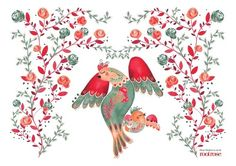 Stohne Illustration- Red Birds placemat By Audrey Lisik