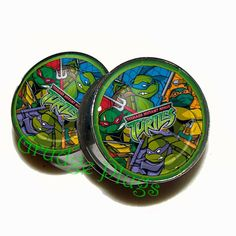 "TMNT Plugs - 1 Pair (2 plugs) - Sizes 6g to 2"" - Made to Order"