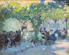 """Outdoor Cafe, Constantinople,"" Jane Peterson, oil on canvas, 24 x 30"", Vose Galleries."