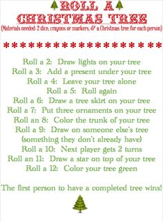 Roll-A-Christmas Tree (Fun Game )