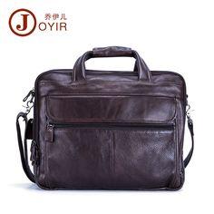 cccb644d0feb Genuine Leather Men 15   Laptop Lawyer Briefcase Work Office Document  Handbag  JOYIR