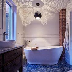 Cement Tile Shop sells beautiful Starburst I Hexagon handmade encaustic cement tile. Moroccan Pendant Light, Moroccan Lighting, Modern Moroccan Decor, Moroccan Bathroom, Moroccan Tiles, Trellis Design, Trellis Pattern, Home Lighting, Bathroom Pendant Lighting