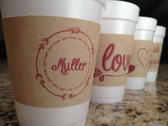 Personalized hot cocoa or coffee sleeves...so perfect for a hot cocoa or coffee bar at a wedding or bridal shower!