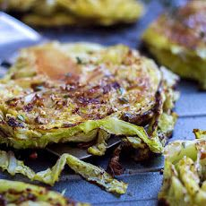 Balsamic, Honey Roasted Cabbage Steaks Recipe with savoy cabbage, olive oil, kosher salt, ground black pepper, balsamic vinegar, honey, fresh thyme