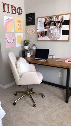 Room Design Bedroom, Room Ideas Bedroom, Diy Bedroom Decor, Desk In Bedroom, Ikea Room Ideas, Bedroom Office, Cozy Home Office, Home Office Decor, Office Room Ideas