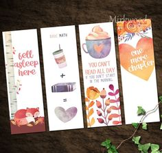 Cozy Fall Watercolor Printable Bookmarks, Autumn Bookmark Set of 4 Reader Gift, Fox Coffee Watercolor Floral - Autumn Creative Bookmarks, Diy Bookmarks, Bookmark Ideas, Bookmark Template, Bookmark Craft, Corner Bookmarks, Crochet Bookmarks, Book And Coffee, Coffee Cozy
