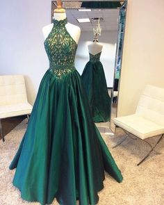 Green Prom Dress, 2017 Prom Dress, Long Prom Dress, Beads Halter Prom Dress with High Neck