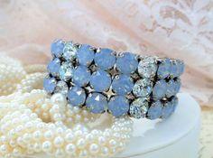 Melania, Swarovski 3 Row 8mm Stretch Bridal Bracelet, Powder Blue, Azure Blue, Stunning Wedding Piece, DKSJewelrydesigns, FREE SHIPPING
