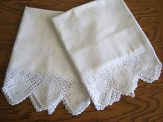 beautiful vintage lace edged pillowcases