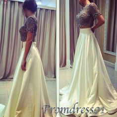 #promdress01 #promdress, unique sexy two pieces white satin modest long prom dress for teens, ball gown, occasion dress -> www.promdress01.c... #coniefox #2016prom