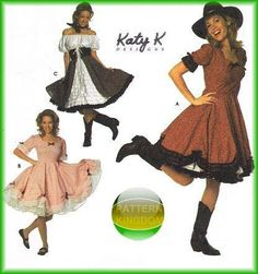 Simplicity 7719 Katy K. Square Dance Full Skirted Cowgirl Dress Patterns