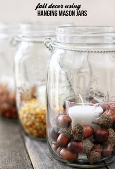 Best Mason Jar Crafts for Fall - DIY Fall Decor Using Hanging Mason Jars - DIY Mason Jar Ideas for Centerpieces, Wedding Decorations, Homemade Gifts, Craft Projects with Leaves, Flowers and Burlap, Painted Art, Candles and Luminaries for Cool Home Decor http://diyjoy.com/mason-jar-crafts-fall