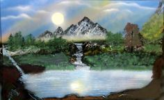 Original Spray Paint Art Landscape Painting  Scene by JUSTspray, $14.99