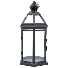 Black Hexagonal Metal & Glass Lantern