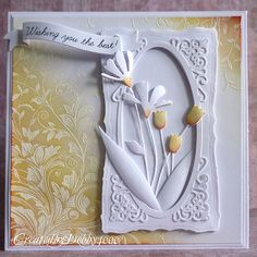 handmade card ... beautiful use of die cut frames and die cut flowers ... love the background treatment with white on white embossing and sponged colors blending on top ...