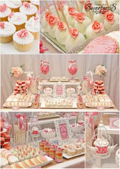 Pink themed wedding desset table - cupcakes, cakepops, cake jars, sugar cookies, candy, lollies. Created by A Pocket Full of Sweetness.