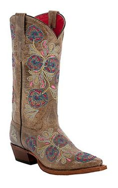 Anderson Bean® Macie Bean™ Ladies Jolene Brown Floral Embroidery Snip Toe Boots | Cavender's Boot City