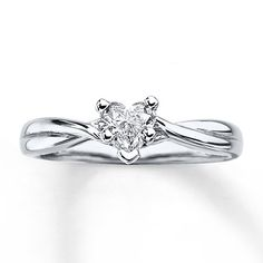 161261906 - Solitaire Diamond Ring 3/8 ct tw Heart-cu…