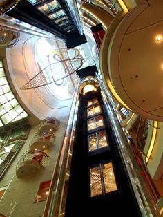 Adventure of the Seas. Look up! Art can be found all over the ship, even hanging in the elevator lobbies.
