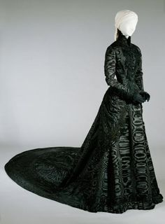 1885 silk moire court dress. Cover everything up!