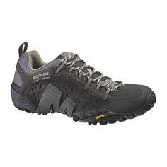 Zapatillas trekking merrell Intercept con suela Vibram. Puedes ver más modelos de calzado y material de montaña en nuestras tiendas de la comarca de Pamplona, en Villava, C/ Ezkaba 7 y Burlada C/ Merindad de sangüesa 1.