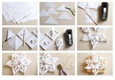 How to make super pretty origami paper craft flowers step by step DIY tutorial instructions Useful Origami, Origami Easy, Origami Paper, Diy Paper, Paper Crafts, Diy Christmas Snowflakes, 3d Paper Snowflakes, Noel Christmas, Christmas Decorations