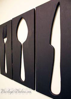 dining room wall art   giant utensils.