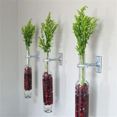 Drei Glasflaschen mit dekorativen roten Steinen befestigt an der Wand