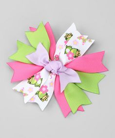 Take a look at this Green Frog Princess Bow Clip by Hair Flair on #zulily today!