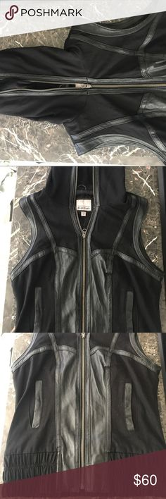 Bebe Kardashian label black hooded vest Kardashians calibration with bebe black vest with hood. bebe Other
