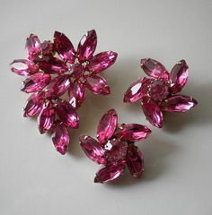 1950's Pink Rhinestone Brooch and Earrings by eclecticappealjewels, $65.00