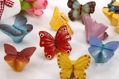 Red resin butterflies Knobs / Shabby Chic Dresser Knobs by LBFEEL